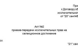Акт перехода права собственности образец